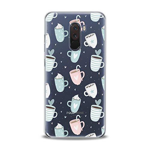Lex Altern TPU Case for Xiaomi Mi 9 A2 A1 Note 3 8 SE Mix 2s 5X 6X 8X Pastel Cups Cappuccino Clear Cover Gentle Pink Print Protective Women Blue -