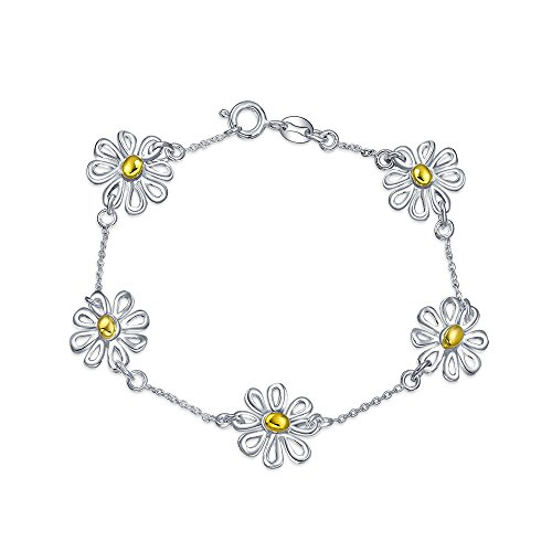 (Simple Two Toned Flowers Station Charm Daisy Bracelet For Women For Teen 14K Gold Plated 925 Sterling Silver)