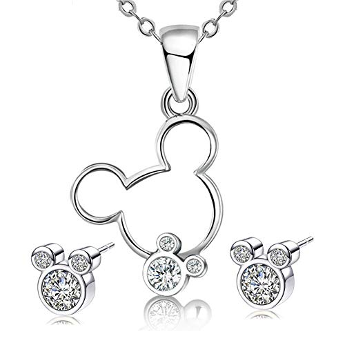 S925 Sterling Silver Necklace Stud Earrings Set Mouse Shape Jewelry Set with Cubic Zirconia for Women Girls Gifts (White)