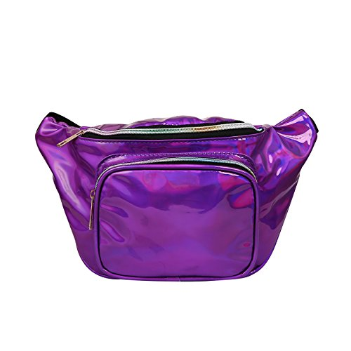 HDE Holographic Fanny Pack Iridescent Shiny Waist Pack