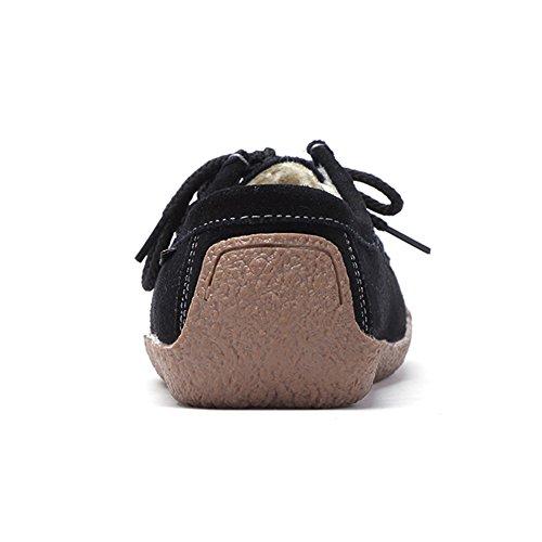 Stq Lace Up Dames Suède Schoenen Schoenen Mode Comfort Vierkante Neus Slak Werk Sneakers 806-1 Zwart Nepbont
