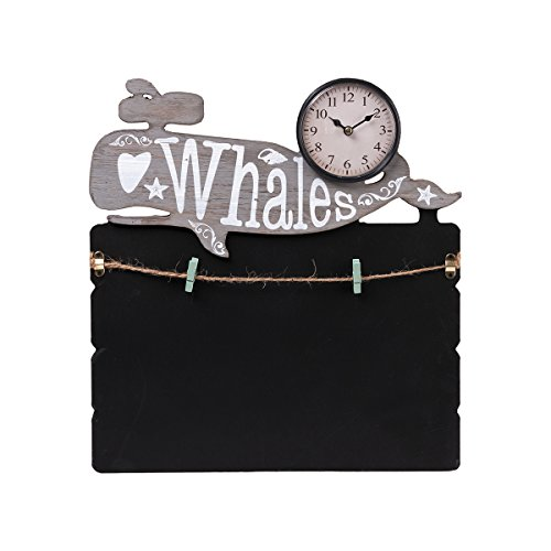 Torch Decorative Small Lovely Animal Figure Wooden Chalkboard Messageboard with Mini Clock for Hanging and Organizing Prints, Instax, Photos, Artwork (WHA)