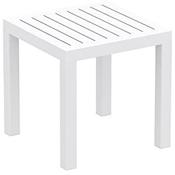 Attrayant Relaxa Plastic Resin Outdoor Square White Side Table   Occasional Table  Ideal For Indoors, Patios