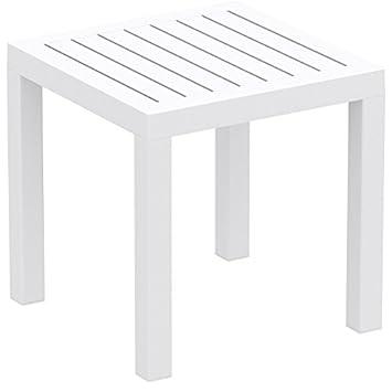 Brackenstyle Relaxa Plastic Resin Outdoor Square White Side Table