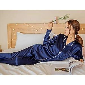 ORANDESIGNE Primavera Autunno Set Pigiama a Maniche Lunghe in Raso delle Donne Pigiameria Elegante Scollo a V Pigiama con Bottoni Sleepwear per Tutte Le Stagioni