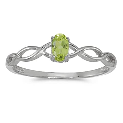 0.19 Carat (ctw) 10k White Gold Oval Green Peridot Solitaire Infinity Twisting Engagement Fashion Promise Ring (5 x 3 MM) - Size (Promise Ring Size 5 White Gold)