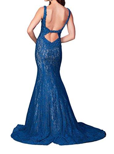 Royal Braut Rock Royal Spitze Ballkleider Lang Festlichkleider Partykleider Meerjungfrau Blau Figurbetont Blau Damen La Abendkleider mia FEwO55