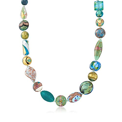 - Ross-Simons Italian Green and Blue Murano Glass Bead Necklace With 18kt Gold Over Sterling