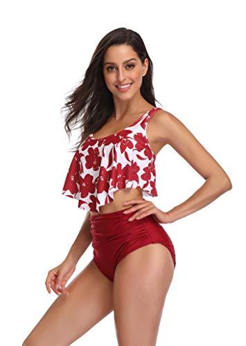 Padding Bikini Top - KABETY Women Two Pieces Bathing Suits Ruffled Racerback High Waisted Bikini Set (3XL/US14-16, Burgundy Flower)