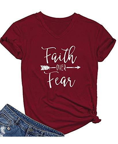 Qrupoad Womens Summer Casual Letter Print T-Shirt Short Sleeve Faith Over Fear Arrow Tee Tops -
