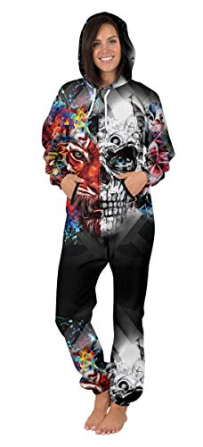 Nawoshow Womens Zip-up 3D Pattern Long Sleeve Playsuit Jumpsuit Onesie (Skull&Tiger, S/M)