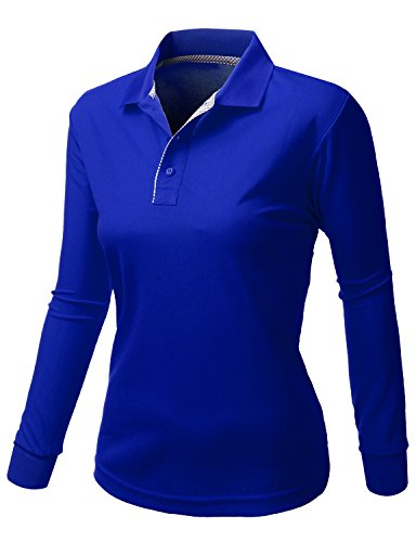 af16cd5b Xpril Women's Cool Max Fabric Sporty Design 2 Tone Collar Polo Long Sleeve T  Shirt