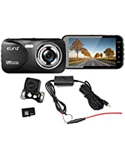 Elinz 2K Dash Cam Dual Camera Reversing 1080P Rear Car DVR Recorder Video 170° WiFi 4.0 Touch Screen Super Capacitor Hisilicon Chipset Sony Sensor, Night Vision, G-Sensor Built-in Mic, WDR, 32GB SD Card