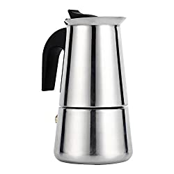 100ml/200ml/300ml/450ml Stainless Steel Moka Pot Espresso Coffee Maker Stove for Office, Home, Restaurant, Cafe Use(100ml)