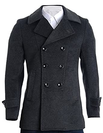 FLATSEVEN Mens Designer Double Breasted Winter Coat Wool
