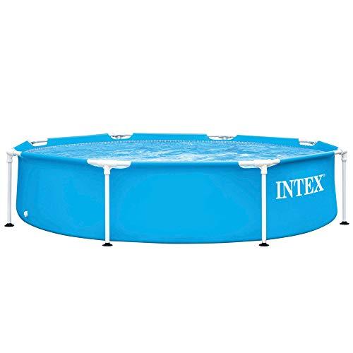 41EdCUXs96L. SS500 Piscina tubular redonda INTEX con medidas Ø244 y 51 cm de altura óptimo para que los niños disfruten de un verano refrescante Material: fabricada con estructura de tubos de acero con protección antióxido y lona PVC triple capa Capacidad: piscina con capacidad para 1.828 litros de agua