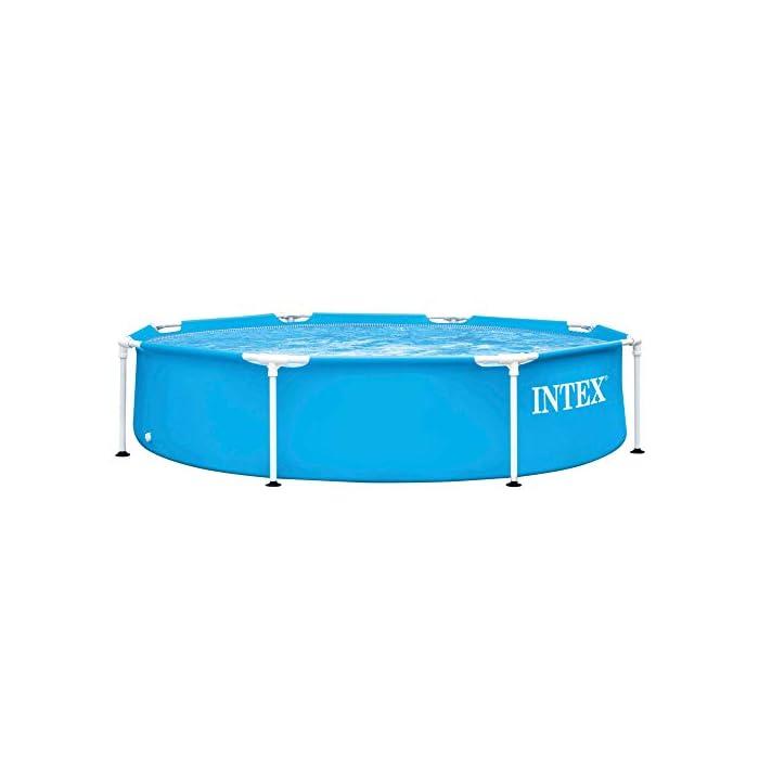 41EdCUXs96L Piscina tubular redonda INTEX con medidas Ø244 y 51 cm de altura óptimo para que los niños disfruten de un verano refrescante Material: fabricada con estructura de tubos de acero con protección antióxido y lona PVC triple capa Capacidad: piscina con capacidad para 1.828 litros de agua
