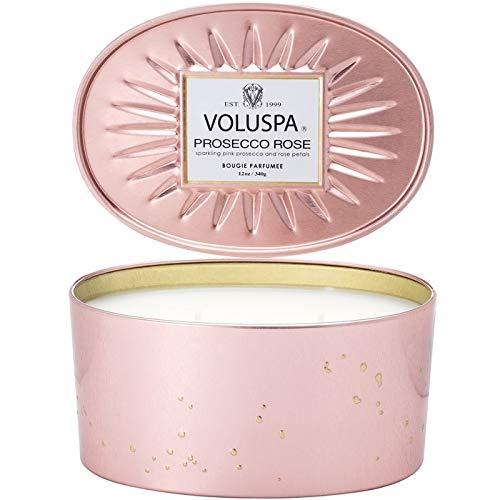 Voluspa Prosecco Rose 2 Wick Oval Tin Candle, 12 Ounces