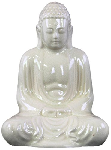 Urban Trends Ceramic Meditating Buddha Figurine with Rounded Ushnisha in Mida No Jouin SM Mudra, White