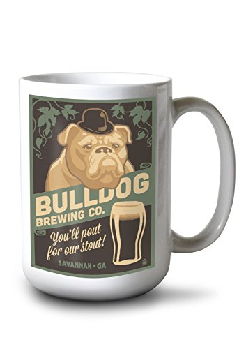 Lantern Press Savannah, Georgia - Bulldog - Retro Stout Beer Ad (15oz White Ceramic Mug) -