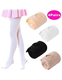 Hicdaw 4Pairs Dance Tights for Toddler Ballet Tights for Girls Ultra Soft Dance Ballet Tight Ballet Footed Tights for Girls