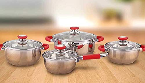 Juego de Ollas, Batería de cocina de acero inoxidable 8 Piezas