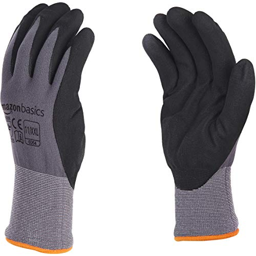 (AmazonBasics Micro-Foam Nitrile Coated Gloves, Nylon Liner Fiber, Touch Screen, Grey, Size 11 (XXL), 12-Pair)