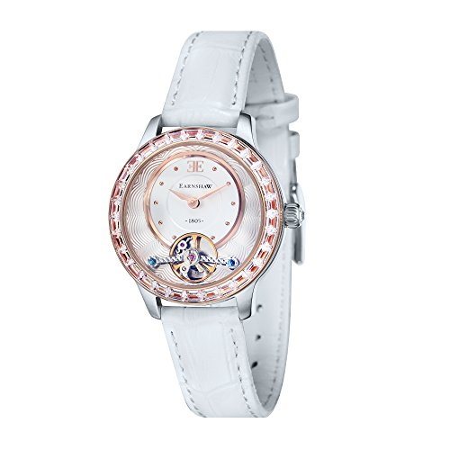 Thomas Earnshaw Girl's 'LADY AUSTRALIS' Mechanical Hand Wind Stainless Steel and Leather Dress Watch, Color:White (Model: ES-8057-03)