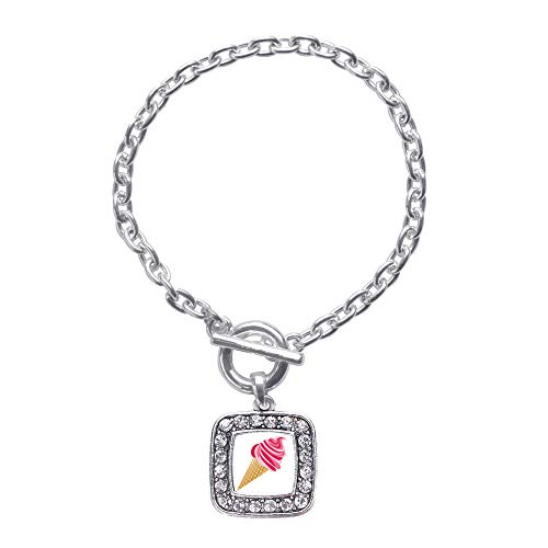 Inspired Silver - Ice Cream Cone Lovers Toggle Charm Bracelet for Women - Silver Square Charm Toggle Bracelet with Cubic Zirconia Jewelry (Ice Cream Cone Bracelet)