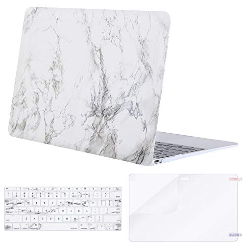 - MOSISO Plastic Pattern Hard Case & Keyboard Cover & Screen Protector Compatible MacBook 12 Inch with Retina Display A1534 (Newest Version 2017/2016/2015), White Marble