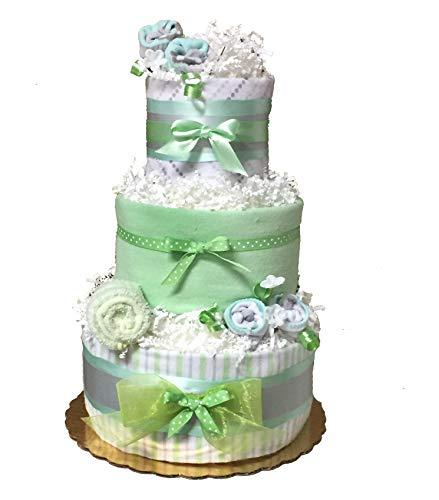 Mint Green Neutral Gender Baby Diaper Cake