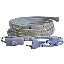 Ahorraluz Tira 220v 2835 120 Led/m Alta LUMINOSIDAD, con Interruptor. Impermeable Frío Cálido Waterproof IP67 Strip (Blanco Neutro, 1M), 11 W