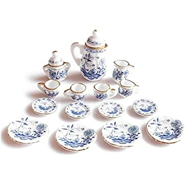 1/12th Dining Ware China Ceramic Tea Set Dolls House Miniatures Blue Flower
