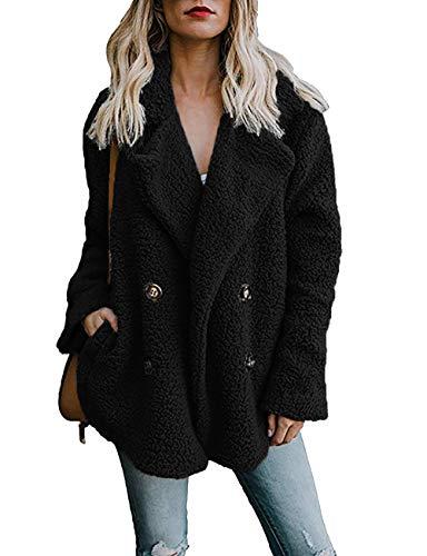 PRETTYGARDEN Women's Warm Long Sleeve Lapel Open Front Button Draped Fleece Coat Fluffy Outwear with (Hooded Two Button Coat)