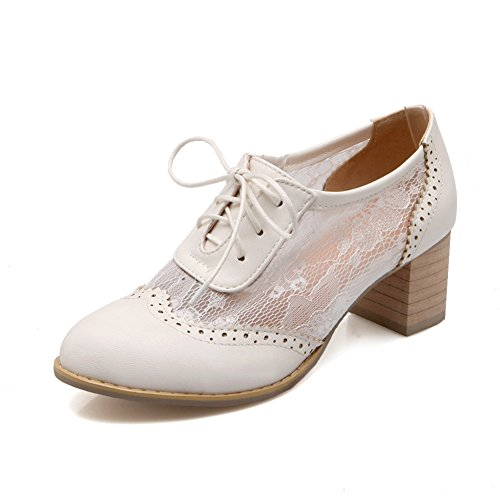 - Lucksender Womens Round Toe Lace Up Mesh &Lace Fashion Oxford Shoes 7B(M)US White