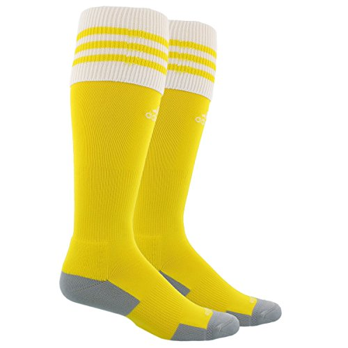adidas Unisex Copa Zone Cushion II Soccer Sock, Sun Yellow/White, Medium (Soccer Socks Yellow)