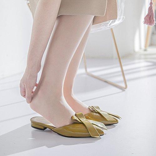 Delle Donne Di Piani Punta A Da Punta Slittamento Pigro Su Btrada I Sandali Pantofola Scorrevoli Moda Delle Signore Sera Bowknot Scarpe xnqYX1Hz