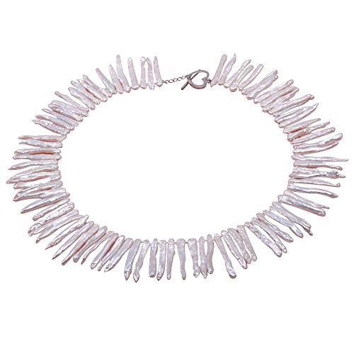 JYX Classic 4x35mm White Biwa Freshwater Cultured Pearl Necklace 18