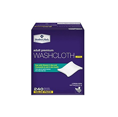 Adult Washcloth Disposable Moist Wipes - 12 X 8 - 240 Pk