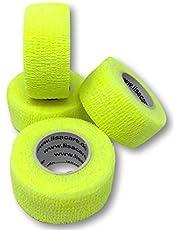 LisaCare Vingerpleister zelfklevend - elastische, waterdichte, stof- vet- en vuilafstotende pleister - neon-geel - 4 rollen à 2,5 cm x 4,5 m