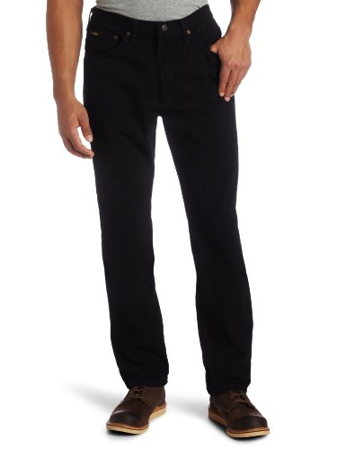 Lee Men's Regular Fit Straight Leg Jean, Double Black, 42W x 32L