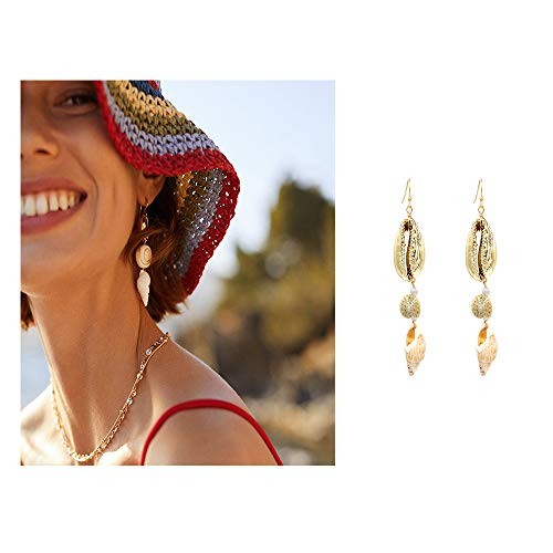 Boho Natural Cowrie Shell Long Pendant Drop Earrings Beach Holiday Jewelry Unique Conch Earrings Women Gifts