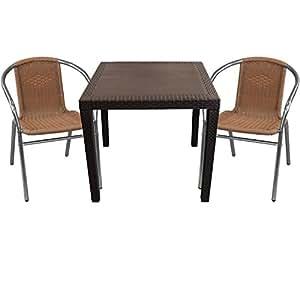 3piezas. Bistro Muebles de Jardín de Ratán. 79x 79Moca + 2x aluminio Bistro Sillas de Polirratán), Plata/natural Mobiliario de jardín
