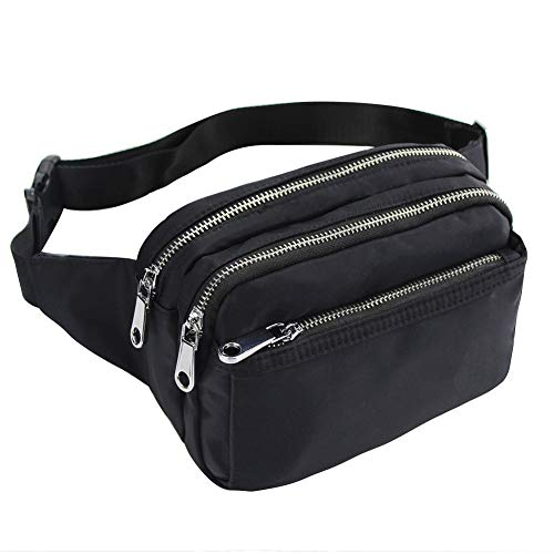 ZORFIN Fanny Packs for Women and Men Waist Pack Bag Cute Large Capacity Hip Bum Non-Slip Cotton Belt Durable Pouch for Outdoors Casual Travelling Hiking Cycling (Best Bum Bags For Travelling)