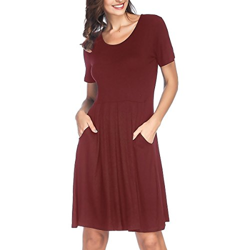 Swing Short Loose Red Dress with Sleeve RIZUGG Pockets Women's Length Casual Knee Pleated Wine wqXaTFEU