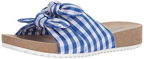 Anne Klein Women's Quilt Slide Sandal, Medium Blue/White Fabric, 7.5 M US