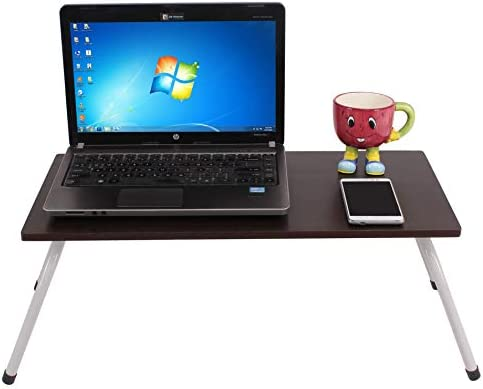 Maverick Multipurpose (Made in India) Laptop/Bed Table with Non-Skid Foldable Legs (Wenge, Steel/Dark)