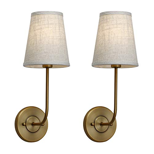 (Pathson Vintage Wall Sconce, 1-Light Wall Light with Linen Fabric Lamp Shade, Industrial Wall Mounted Fixture for Bedroom Living Room, Antique Brass Finish 2-Pack (Antique))