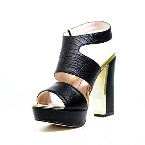 Gaudì sandalias del tacón alto con el pitón de cuero Negro Nr. V63-64615P nuevo y de moda de primavera y verano 2016 V63 64615P negro