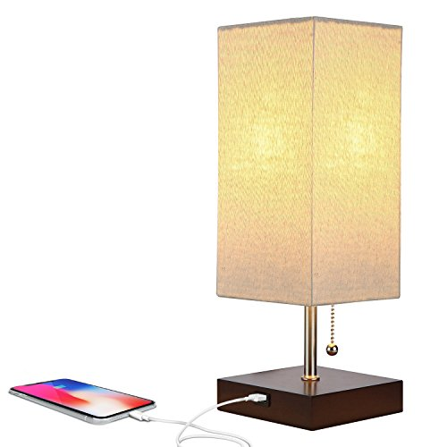 Brightech Grace LED USB Bedside Table & Desk Lamp – Modern Lamp with Soft, Ambient Light, Unique Lampshade & Functional USB Port – Perfect for Table in Bedroom, Living Room, or Office – Havana Brown (Nightstand Bedside)